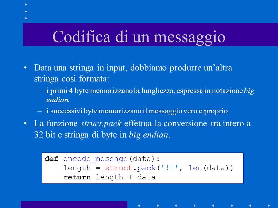 Codifica di un messaggio Data una stringa in input, dobbiamo produrre unaltra stringa così formata: –i primi 4 byte memorizzano la lunghezza, espressa in notazione big endian.