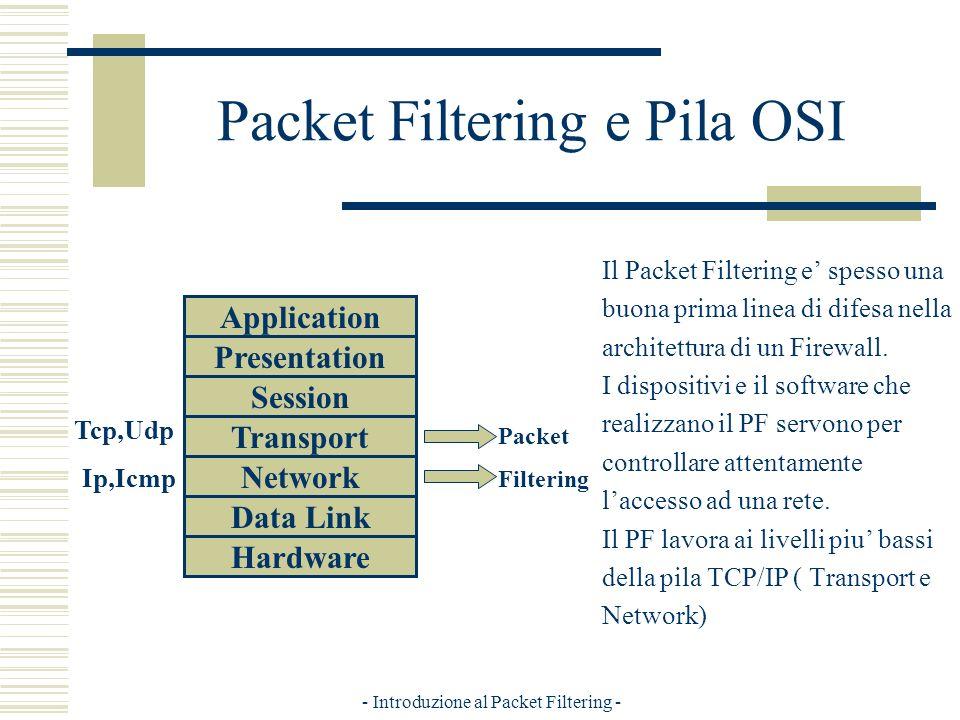 - Introduzione al Packet Filtering - Packet Filtering e Pila OSI Il Packet Filtering e spesso una buona prima linea di difesa nella architettura di un Firewall.