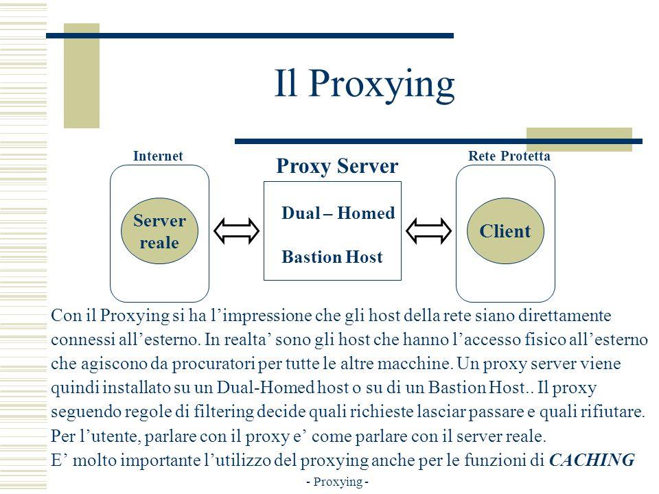 - Proxying - Il Proxying Con il Proxying si ha limpressione che gli host della rete siano direttamente connessi allesterno.