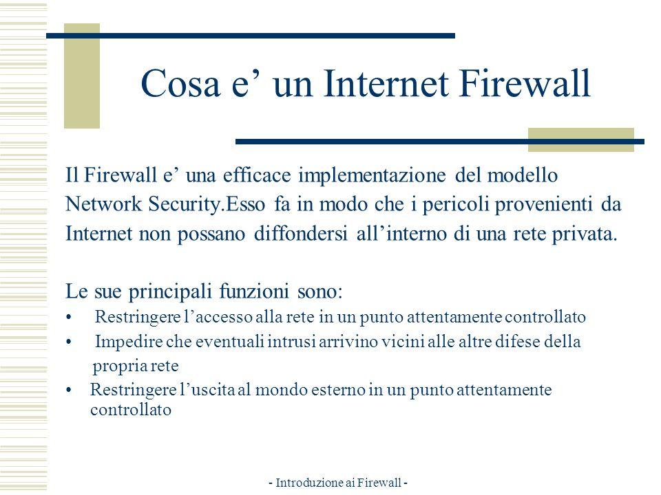 - Introduzione ai Firewall - Cosa e un Internet Firewall Il Firewall e una efficace implementazione del modello Network Security.Esso fa in modo che i pericoli provenienti da Internet non possano diffondersi allinterno di una rete privata.