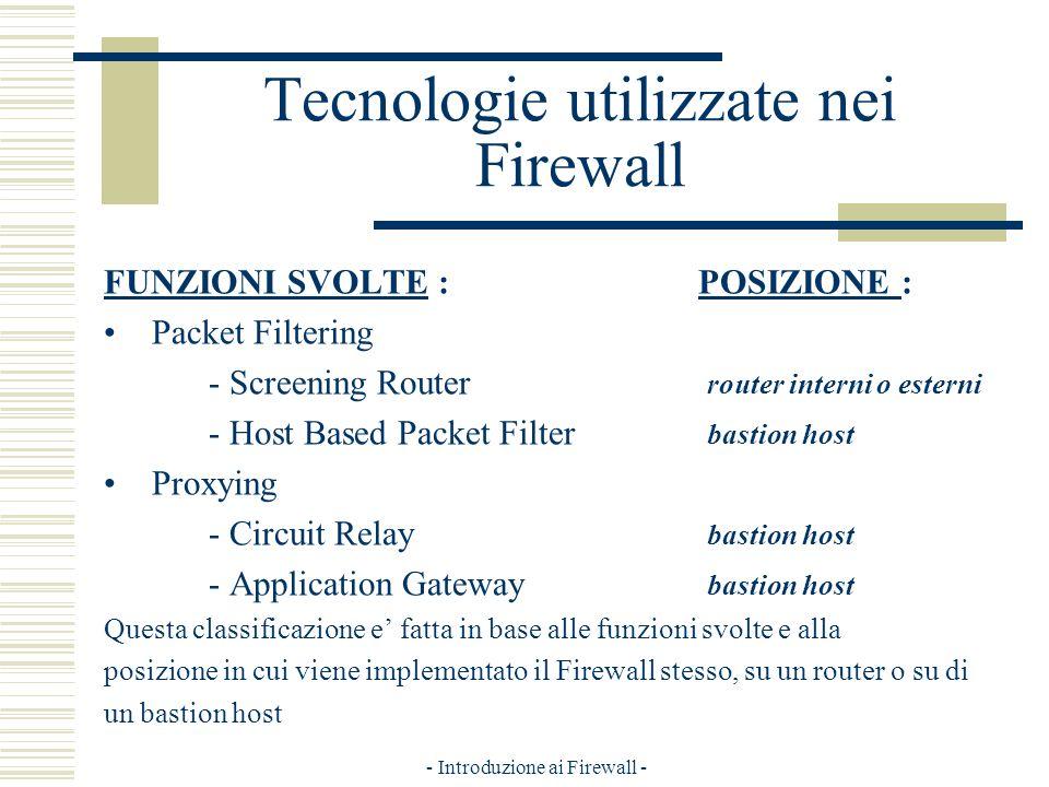 - Introduzione ai Firewall - Tecnologie utilizzate nei Firewall FUNZIONI SVOLTE : POSIZIONE : Packet Filtering - Screening Router router interni o esterni - Host Based Packet Filter bastion host Proxying - Circuit Relay bastion host - Application Gateway bastion host Questa classificazione e fatta in base alle funzioni svolte e alla posizione in cui viene implementato il Firewall stesso, su un router o su di un bastion host