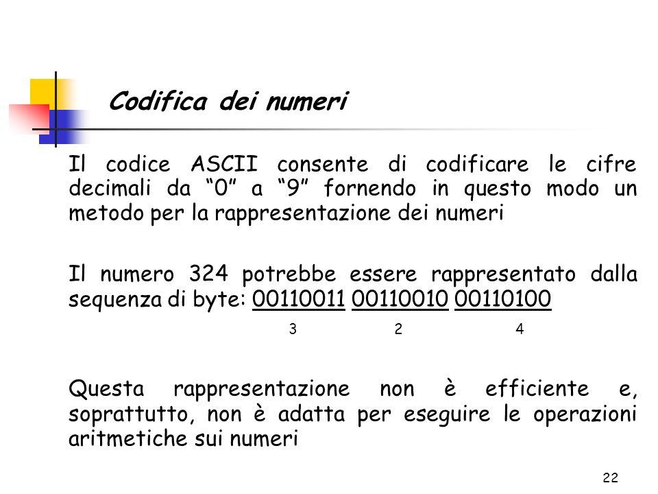 22 Il codice ASCII consente di codificare le cifre decimali da 0 a 9 fornendo in questo modo un metodo per la rappresentazione dei numeri Il numero 32