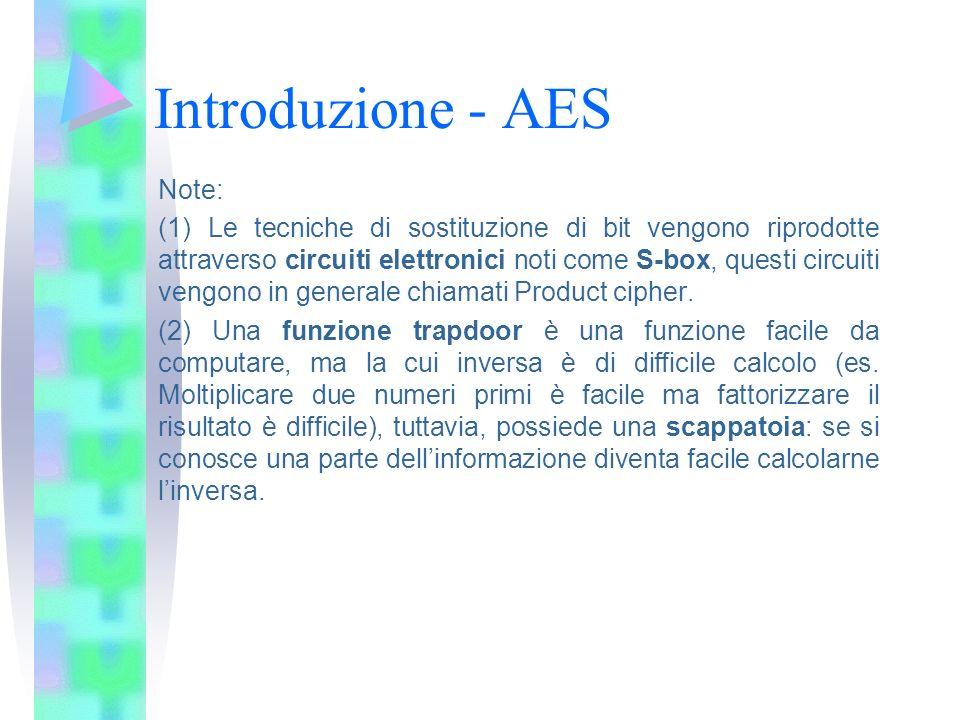 Introduzione - AES Note: (1) Le tecniche di sostituzione di bit vengono riprodotte attraverso circuiti elettronici noti come S-box, questi circuiti ve