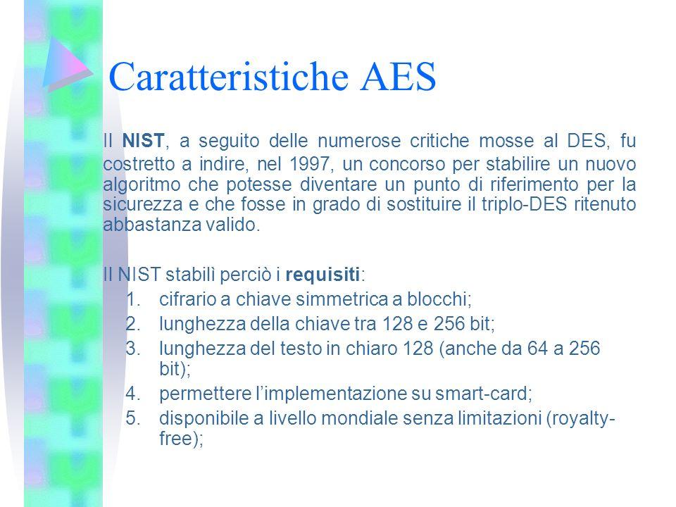 Caratteristiche AES Il NIST, a seguito delle numerose critiche mosse al DES, fu costretto a indire, nel 1997, un concorso per stabilire un nuovo algor