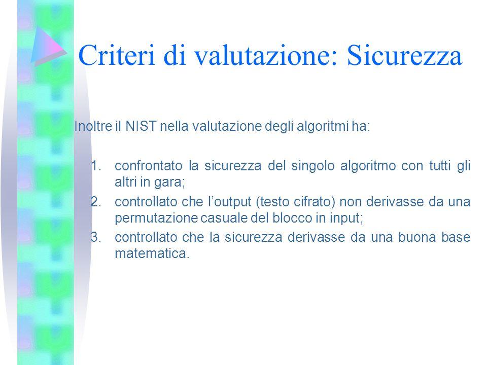 Criteri di valutazione: Sicurezza Inoltre il NIST nella valutazione degli algoritmi ha: 1.confrontato la sicurezza del singolo algoritmo con tutti gli