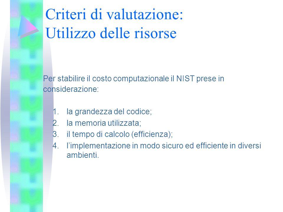 Criteri di valutazione: Utilizzo delle risorse Per stabilire il costo computazionale il NIST prese in considerazione: 1.la grandezza del codice; 2.la