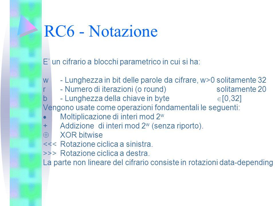 RC6 - Notazione E un cifrario a blocchi parametrico in cui si ha: w- Lunghezza in bit delle parole da cifrare, w>0 solitamente 32 r - Numero di iteraz