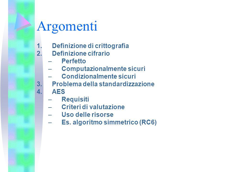 Argomenti 1.Definizione di crittografia 2.Definizione cifrario –Perfetto –Computazionalmente sicuri –Condizionalmente sicuri 3.Problema della standard