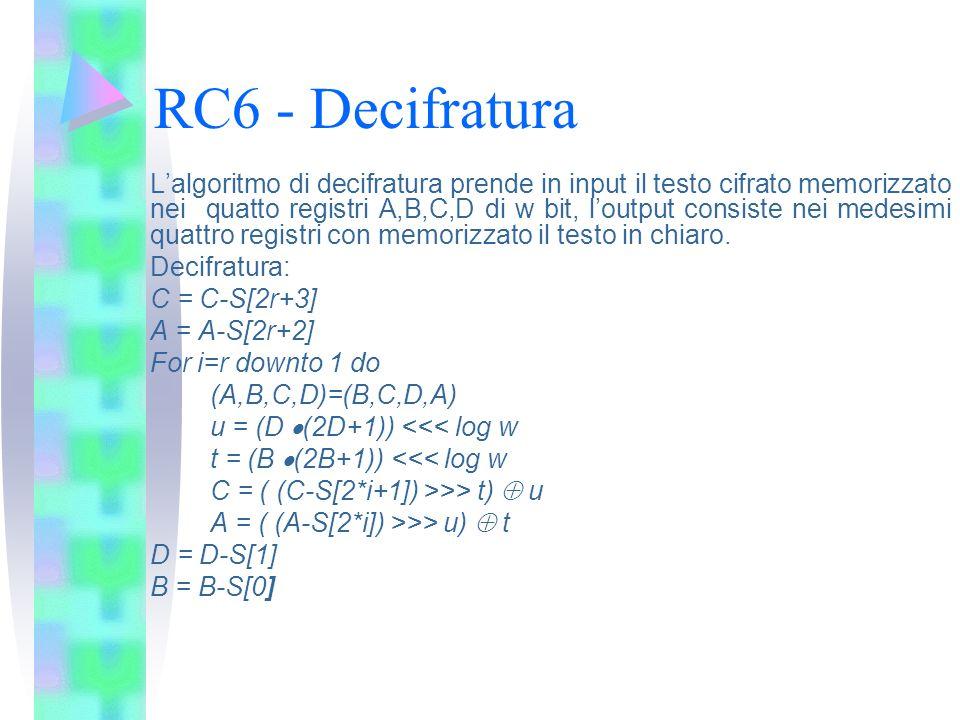 RC6 - Decifratura Lalgoritmo di decifratura prende in input il testo cifrato memorizzato nei quatto registri A,B,C,D di w bit, loutput consiste nei me