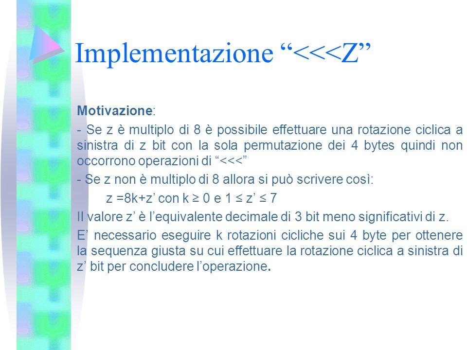 Implementazione <<<Z Motivazione: - Se z è multiplo di 8 è possibile effettuare una rotazione ciclica a sinistra di z bit con la sola permutazione dei