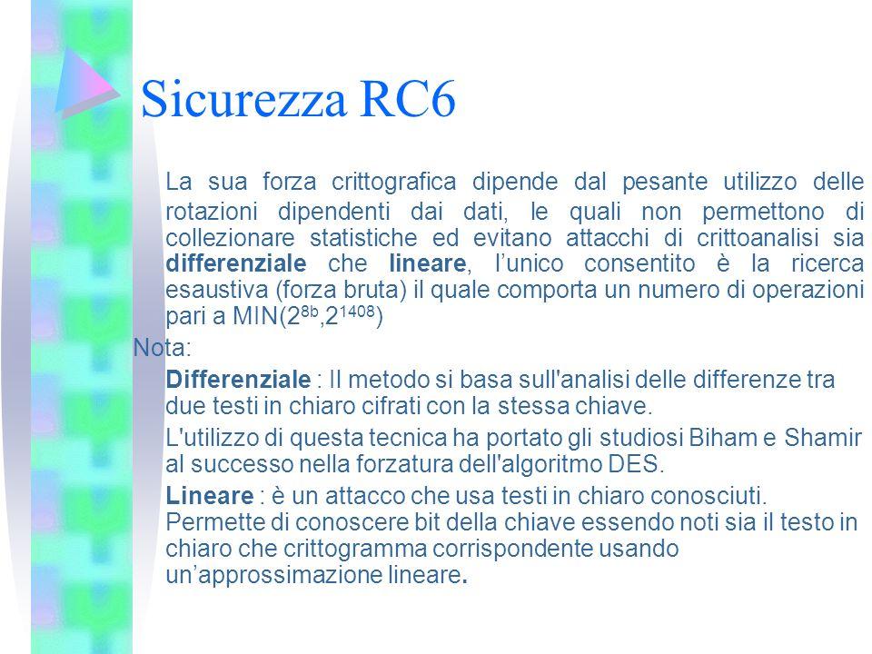 Sicurezza RC6 La sua forza crittografica dipende dal pesante utilizzo delle rotazioni dipendenti dai dati, le quali non permettono di collezionare sta