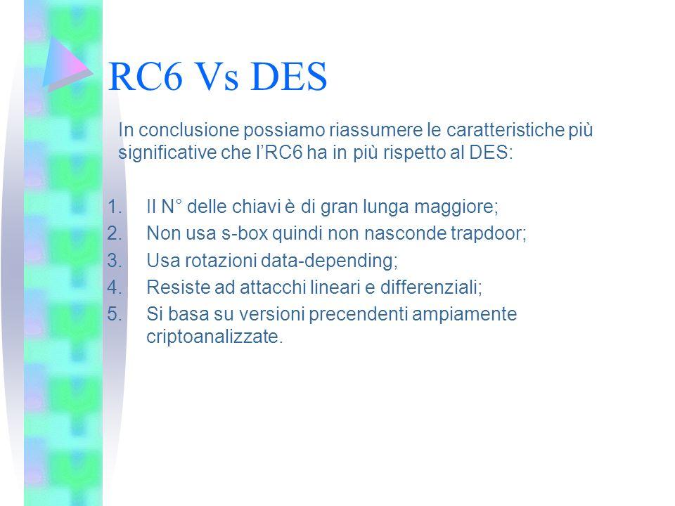 RC6 Vs DES In conclusione possiamo riassumere le caratteristiche più significative che lRC6 ha in più rispetto al DES: 1.Il N° delle chiavi è di gran