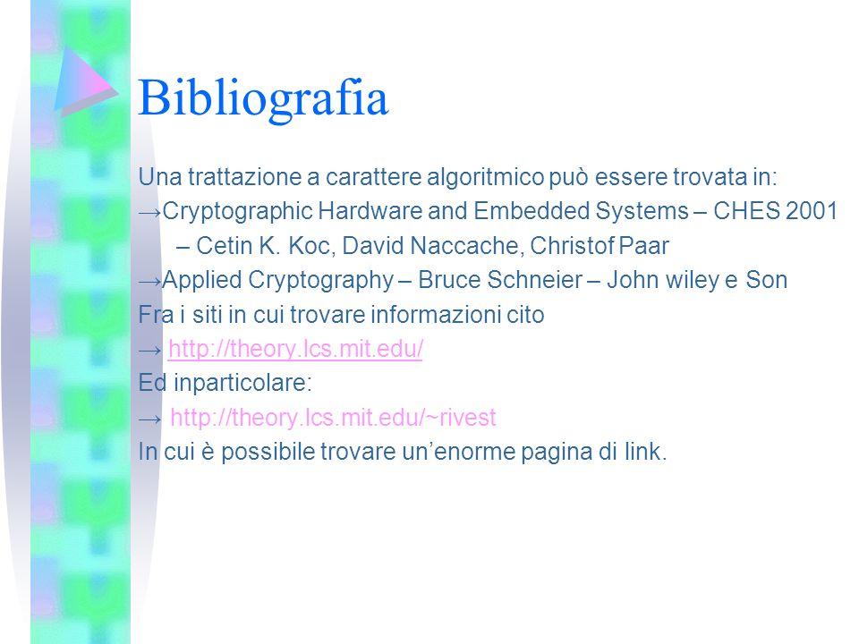 Bibliografia Una trattazione a carattere algoritmico può essere trovata in: Cryptographic Hardware and Embedded Systems – CHES 2001 – Cetin K. Koc, Da