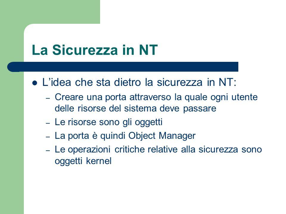La Sicurezza in NT Lidea che sta dietro la sicurezza in NT: – Creare una porta attraverso la quale ogni utente delle risorse del sistema deve passare – Le risorse sono gli oggetti – La porta è quindi Object Manager – Le operazioni critiche relative alla sicurezza sono oggetti kernel