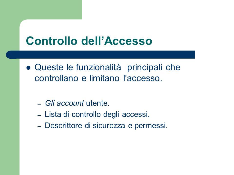 Controllo dellAccesso Queste le funzionalità principali che controllano e limitano laccesso.