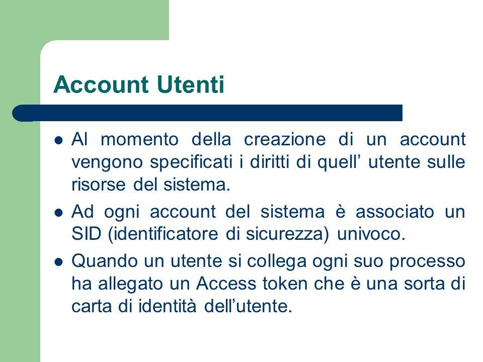 Account Utenti Al momento della creazione di un account vengono specificati i diritti di quell utente sulle risorse del sistema.