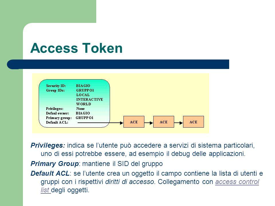 Access Token Privileges: indica se lutente può accedere a servizi di sistema particolari, uno di essi potrebbe essere, ad esempio il debug delle applicazioni.