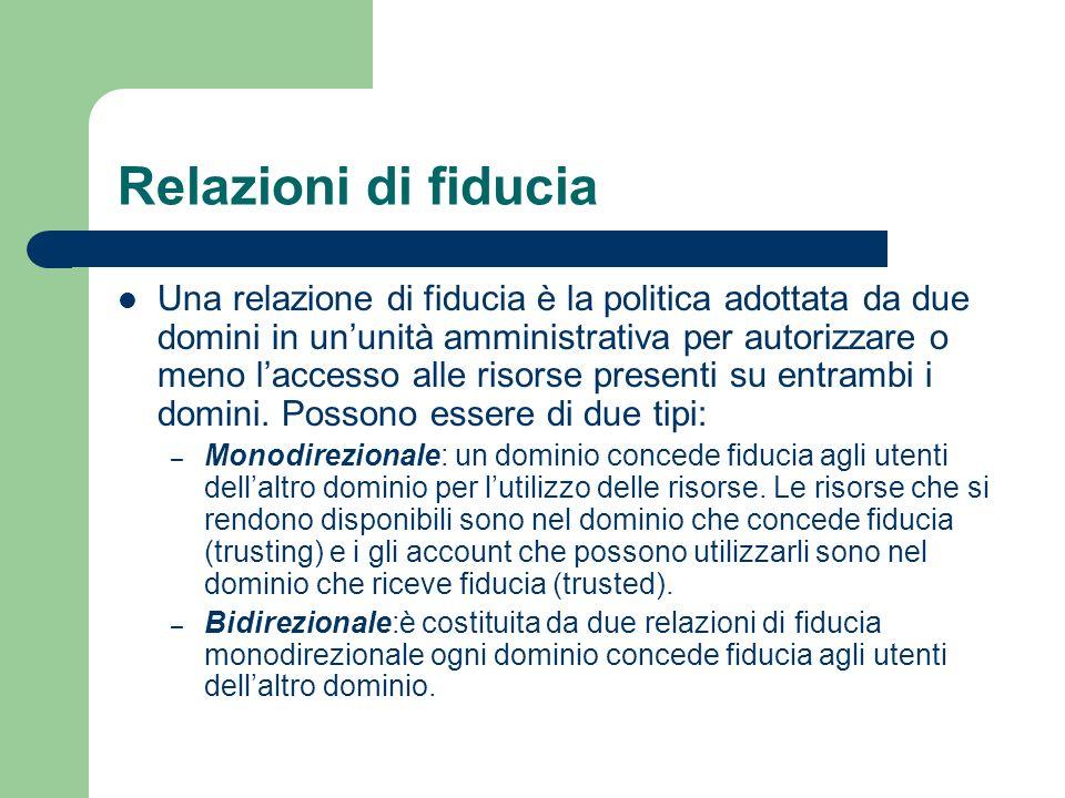 Relazioni di fiducia Una relazione di fiducia è la politica adottata da due domini in ununità amministrativa per autorizzare o meno laccesso alle risorse presenti su entrambi i domini.