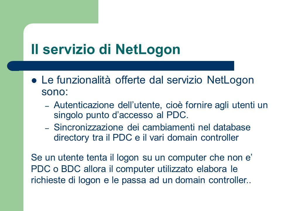 Il servizio di NetLogon Le funzionalità offerte dal servizio NetLogon sono: – Autenticazione dellutente, cioè fornire agli utenti un singolo punto daccesso al PDC.
