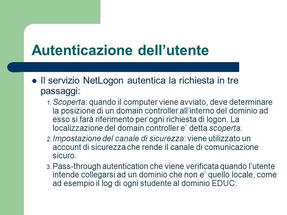 Autenticazione dellutente Il servizio NetLogon autentica la richiesta in tre passaggi: 1.