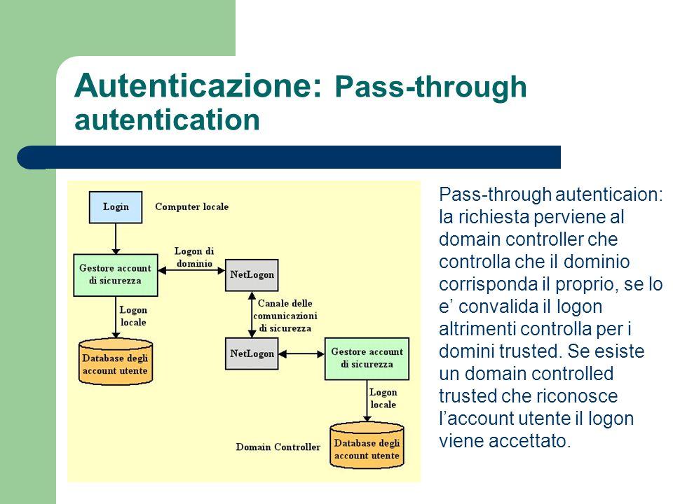 Autenticazione: Pass-through autentication Pass-through autenticaion: la richiesta perviene al domain controller che controlla che il dominio corrisponda il proprio, se lo e convalida il logon altrimenti controlla per i domini trusted.