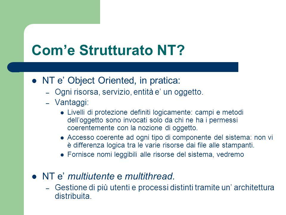Oggetti in NT Il Kernel di NT e detto executive, a questo livello abbiamo due tipi di oggetti: – Oggetti executive:sono oggetti visibili ai processi utente – Oggetti Kernel: oggetti più primitivi, visibili solo dallexecutive