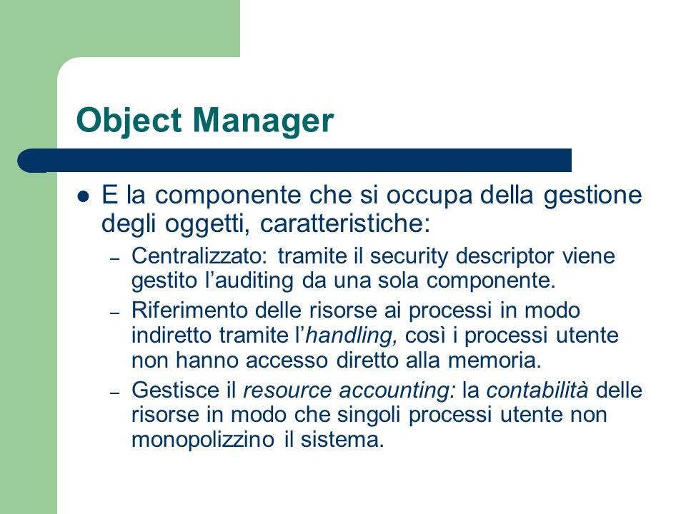 Object Manager E la componente che si occupa della gestione degli oggetti, caratteristiche: – Centralizzato: tramite il security descriptor viene gestito lauditing da una sola componente.