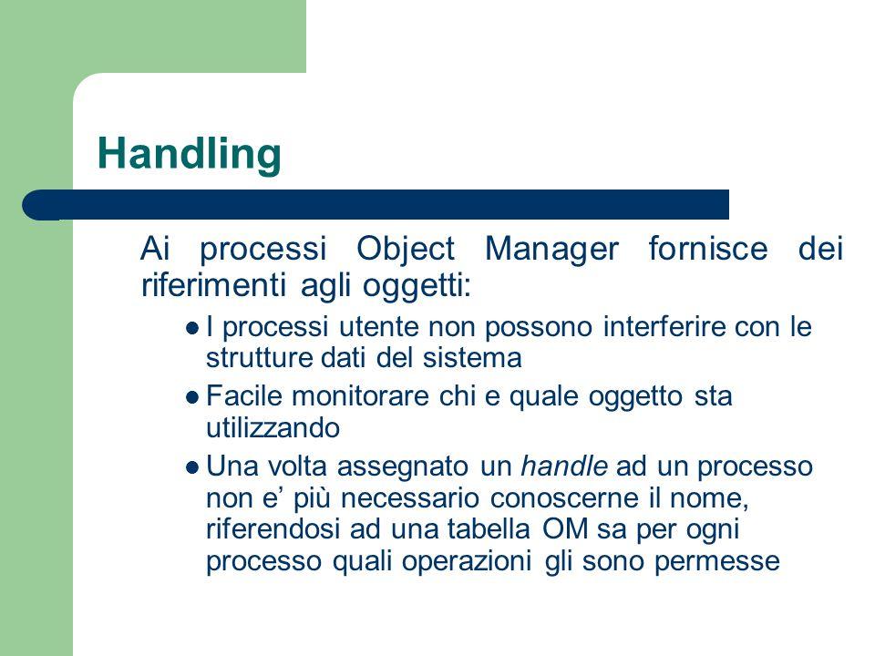Handling Ai processi Object Manager fornisce dei riferimenti agli oggetti: I processi utente non possono interferire con le strutture dati del sistema Facile monitorare chi e quale oggetto sta utilizzando Una volta assegnato un handle ad un processo non e più necessario conoscerne il nome, riferendosi ad una tabella OM sa per ogni processo quali operazioni gli sono permesse