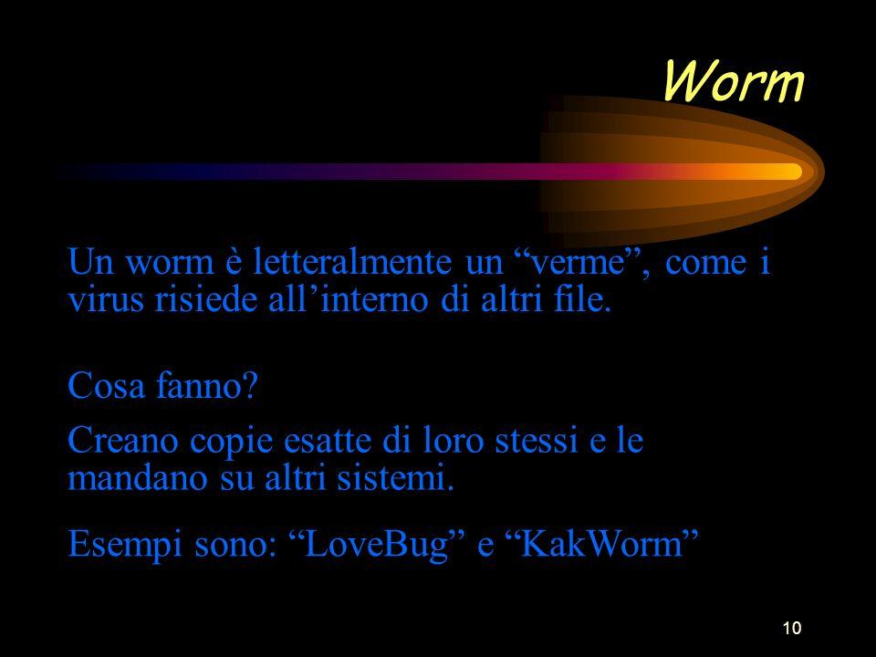 10 Worm Un worm è letteralmente un verme, come i virus risiede allinterno di altri file.