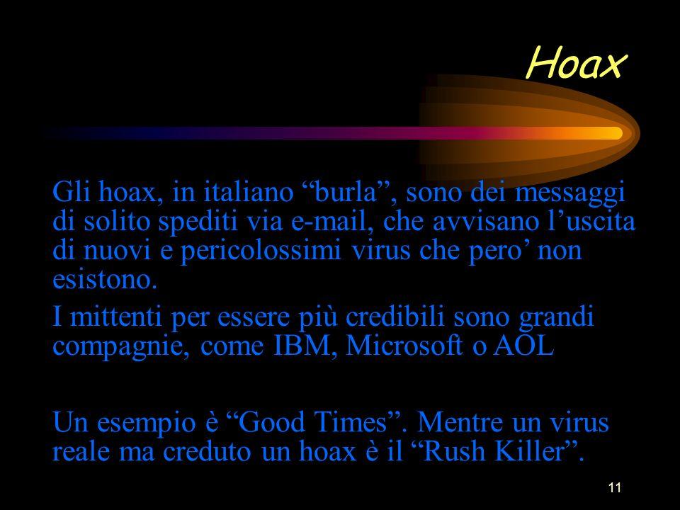 11 Hoax Gli hoax, in italiano burla, sono dei messaggi di solito spediti via e-mail, che avvisano luscita di nuovi e pericolossimi virus che pero non esistono.