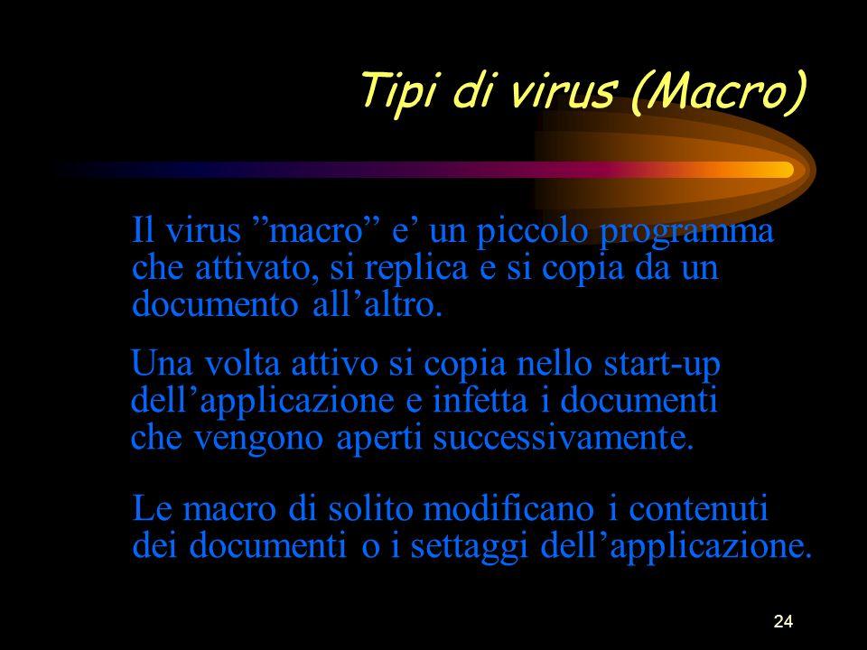 24 Tipi di virus (Macro) Il virus macro e un piccolo programma che attivato, si replica e si copia da un documento allaltro.