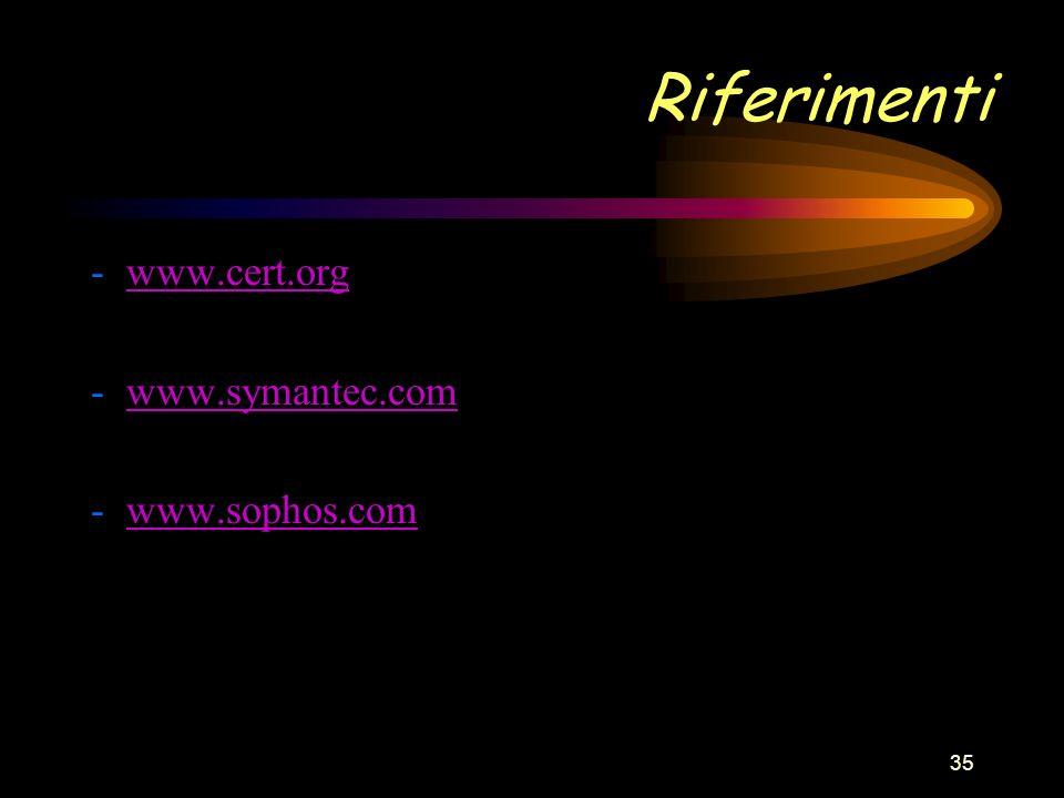 35 Riferimenti - www.cert.orgwww.cert.org - www.symantec.comwww.symantec.com - www.sophos.comwww.sophos.com