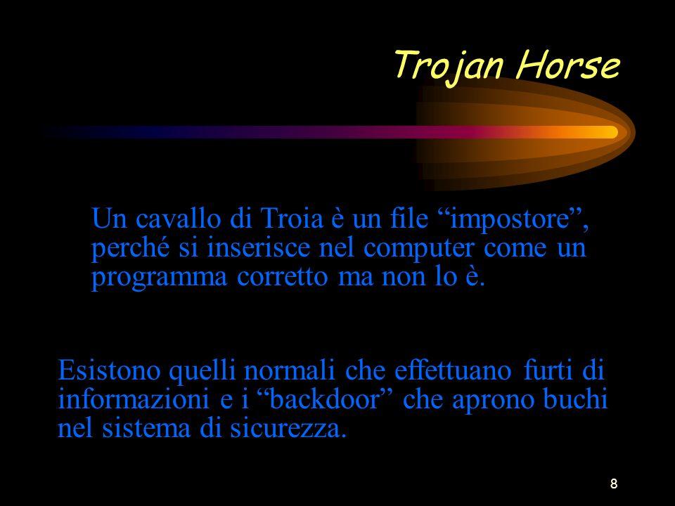 8 Trojan Horse Un cavallo di Troia è un file impostore, perché si inserisce nel computer come un programma corretto ma non lo è.