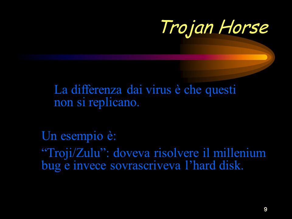 9 Trojan Horse La differenza dai virus è che questi non si replicano.