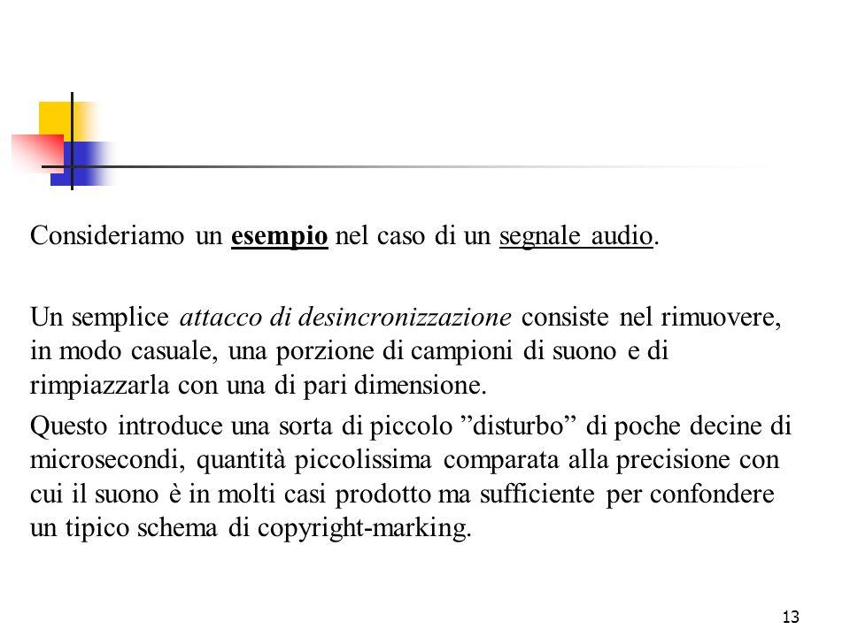 13 Consideriamo un esempio nel caso di un segnale audio. Un semplice attacco di desincronizzazione consiste nel rimuovere, in modo casuale, una porzio