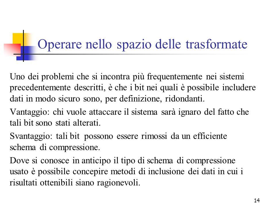 14 Operare nello spazio delle trasformate Uno dei problemi che si incontra più frequentemente nei sistemi precedentemente descritti, è che i bit nei q