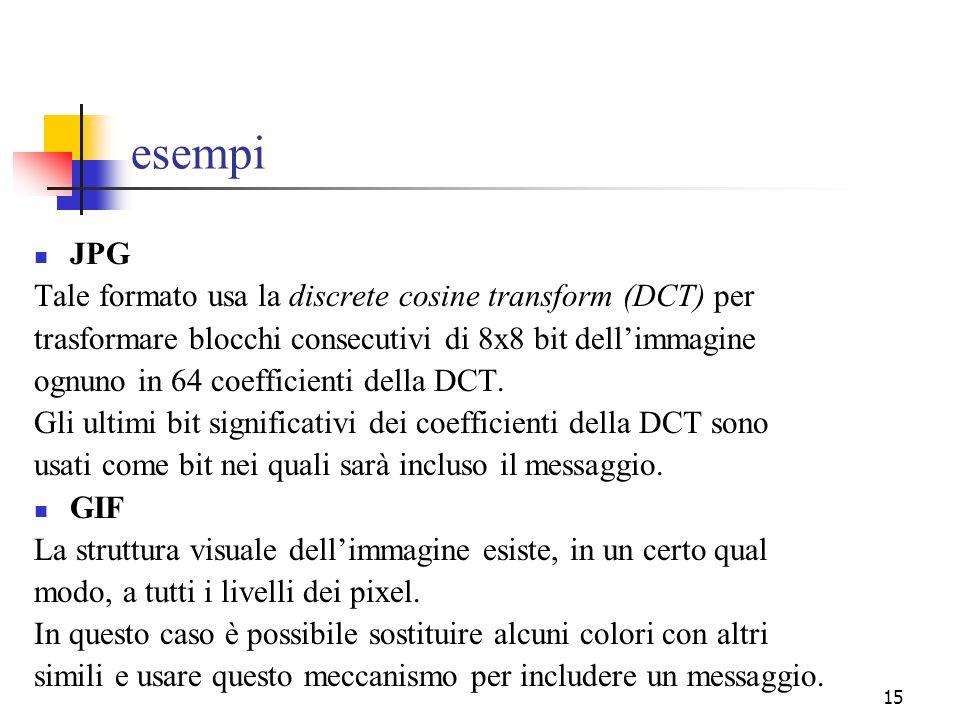 15 esempi JPG Tale formato usa la discrete cosine transform (DCT) per trasformare blocchi consecutivi di 8x8 bit dellimmagine ognuno in 64 coefficient