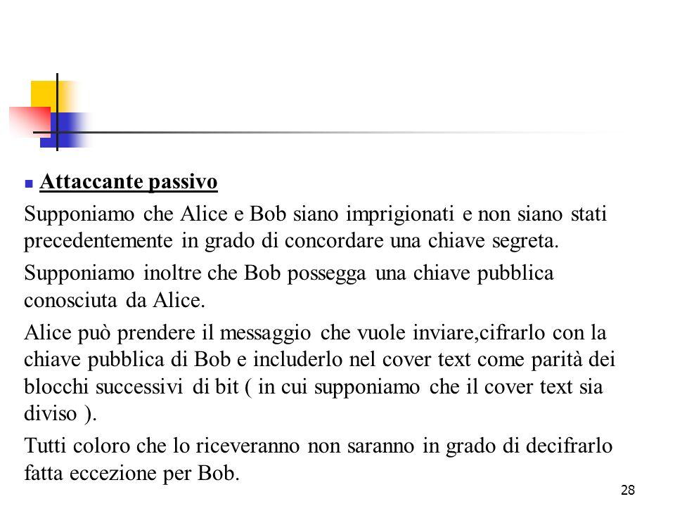 28 Attaccante passivo Supponiamo che Alice e Bob siano imprigionati e non siano stati precedentemente in grado di concordare una chiave segreta. Suppo