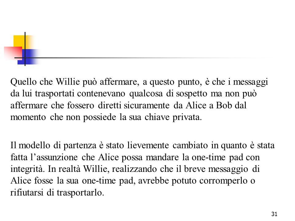 31 Quello che Willie può affermare, a questo punto, è che i messaggi da lui trasportati contenevano qualcosa di sospetto ma non può affermare che foss