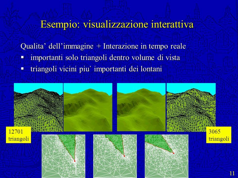 11 Esempio: visualizzazione interattiva Qualita dellimmagine + Interazione in tempo reale importanti solo triangoli dentro volume di vista importanti