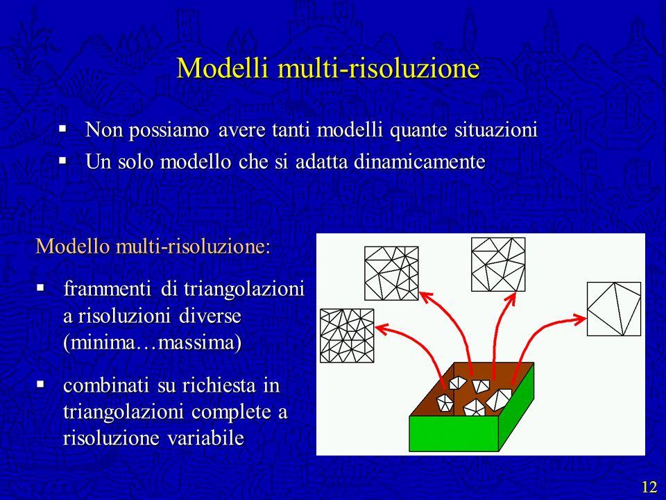 12 Modelli multi-risoluzione Non possiamo avere tanti modelli quante situazioni Non possiamo avere tanti modelli quante situazioni Un solo modello che