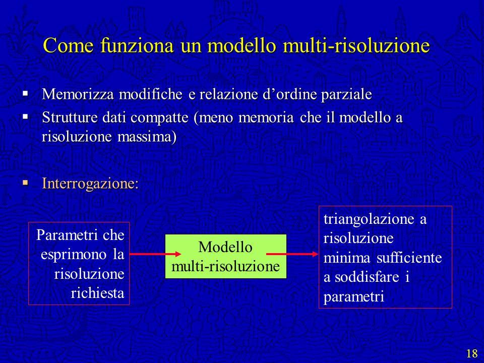 18 Come funziona un modello multi-risoluzione Memorizza modifiche e relazione dordine parziale Memorizza modifiche e relazione dordine parziale Strutt
