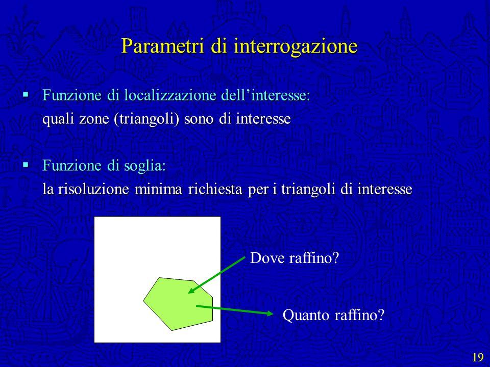 19 Parametri di interrogazione Funzione di localizzazione dellinteresse: Funzione di localizzazione dellinteresse: quali zone (triangoli) sono di inte