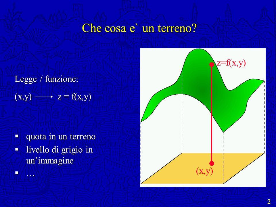 2 Che cosa e` un terreno? Legge / funzione: (x,y) z = f(x,y) quota in un terreno quota in un terreno livello di grigio in unimmagine livello di grigio