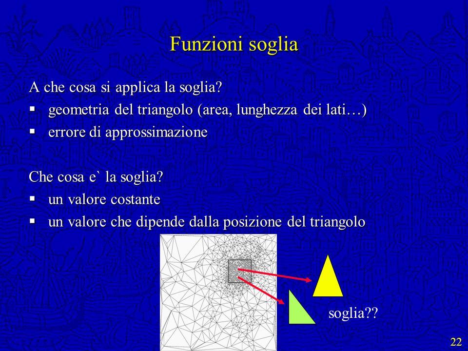 22 Funzioni soglia A che cosa si applica la soglia? geometria del triangolo (area, lunghezza dei lati…) geometria del triangolo (area, lunghezza dei l