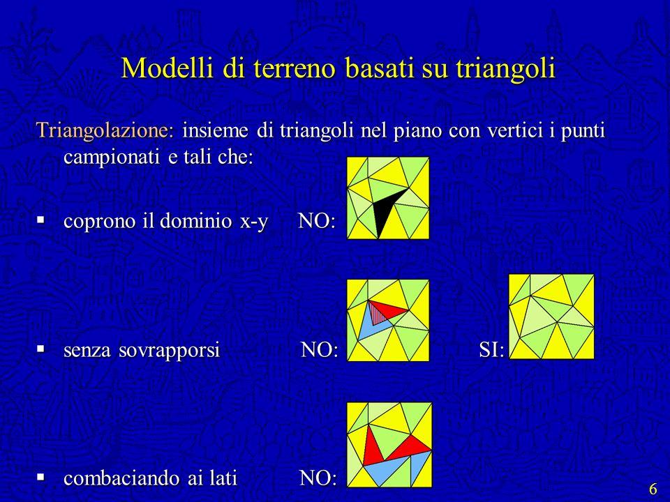 6 Modelli di terreno basati su triangoli Triangolazione: insieme di triangoli nel piano con vertici i punti campionati e tali che: coprono il dominio