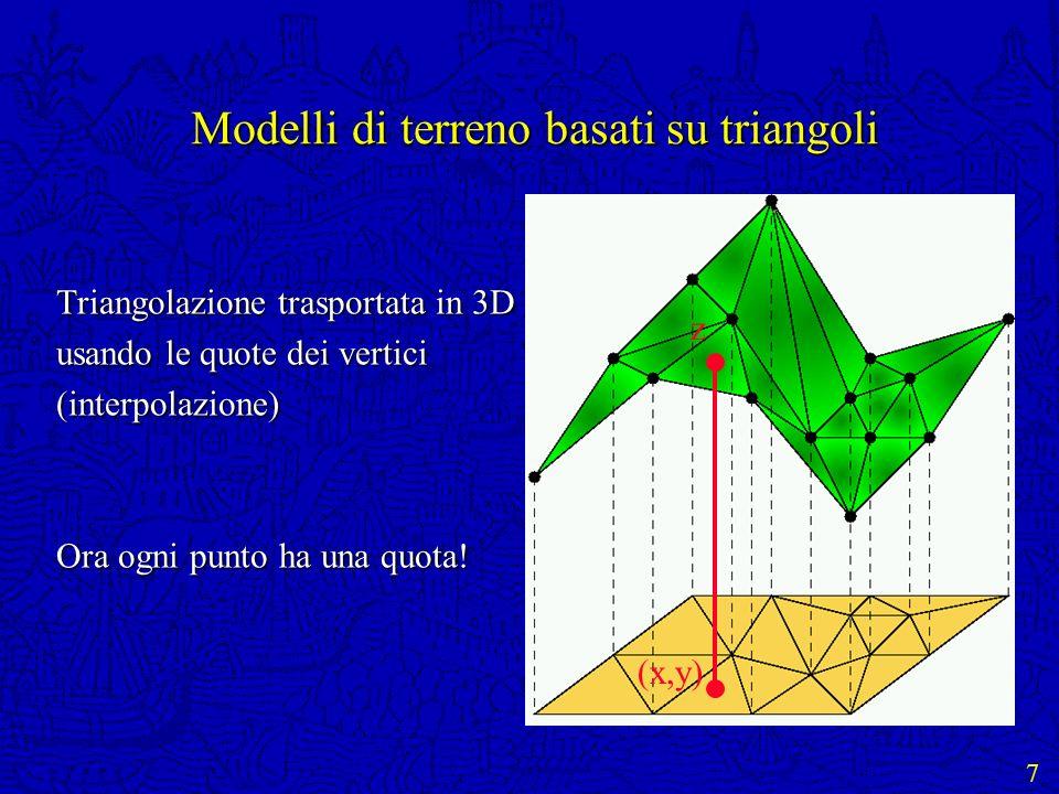 7 Modelli di terreno basati su triangoli Triangolazione trasportata in 3D usando le quote dei vertici (interpolazione) Ora ogni punto ha una quota! (x