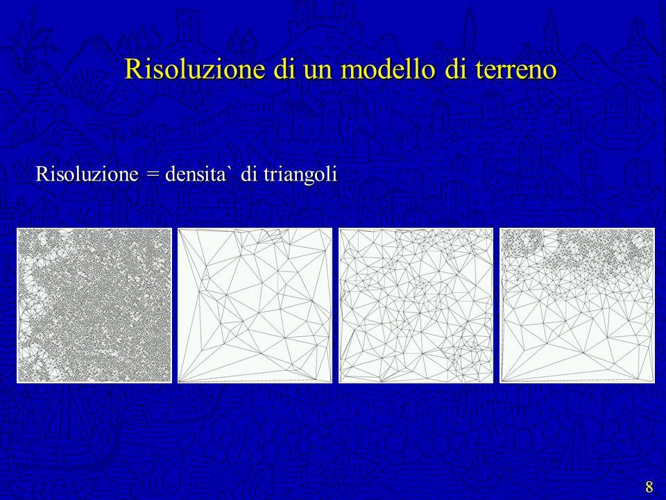 19 Parametri di interrogazione Funzione di localizzazione dellinteresse: Funzione di localizzazione dellinteresse: quali zone (triangoli) sono di interesse Funzione di soglia: Funzione di soglia: la risoluzione minima richiesta per i triangoli di interesse Dove raffino.