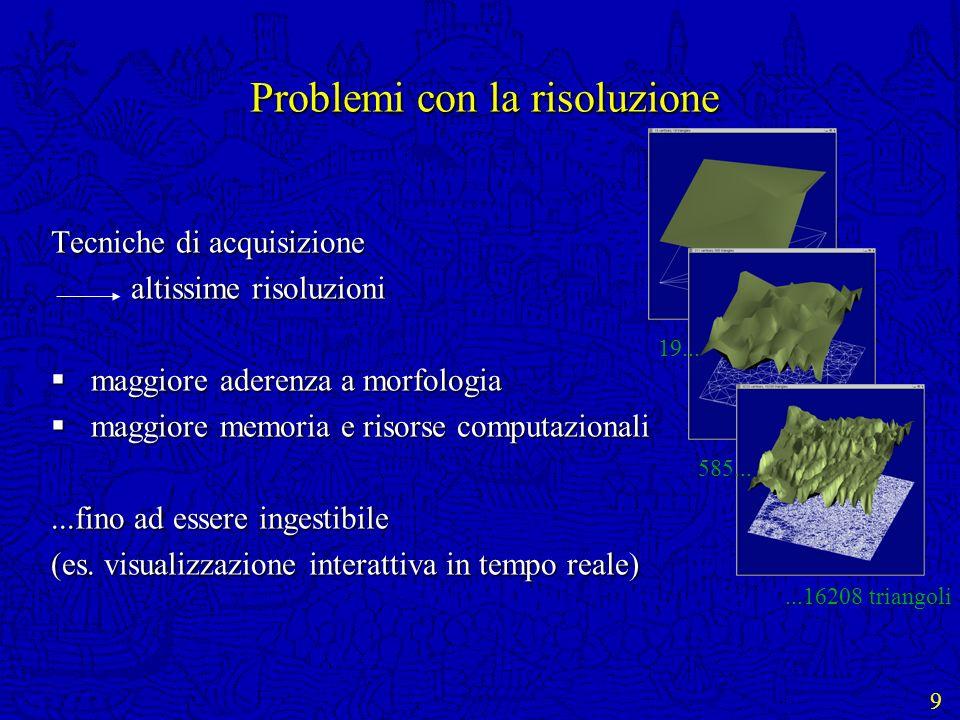 9 Problemi con la risoluzione Tecniche di acquisizione altissime risoluzioni altissime risoluzioni maggiore aderenza a morfologia maggiore aderenza a