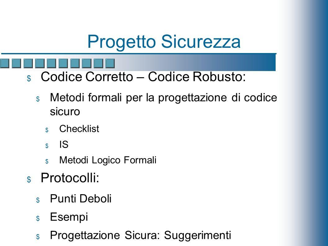 Progetto Sicurezza Codice Corretto – Codice Robusto: Metodi formali per la progettazione di codice sicuro Checklist IS Metodi Logico Formali Protocolli: Punti Deboli Esempi Progettazione Sicura: Suggerimenti IPv6 Security